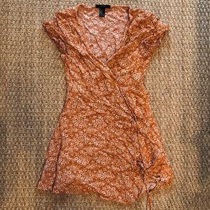Orange Print Wrap Mini Dress